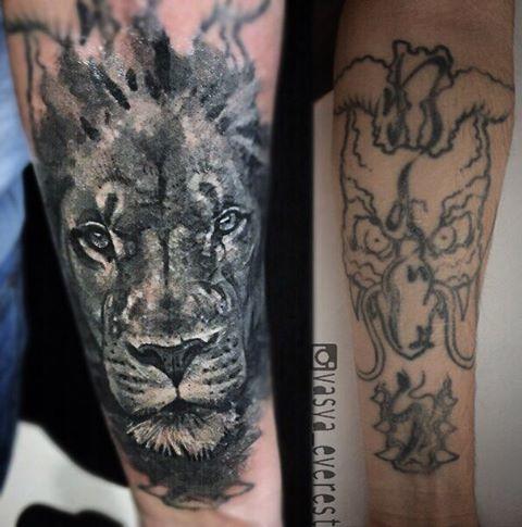Художественная татуировка «Лев». Мастер- Вася Эверест.