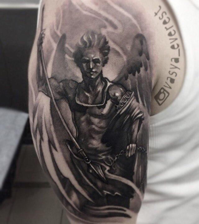 Художественная татуировка «Архангел». Мастер- Вася Эверест.