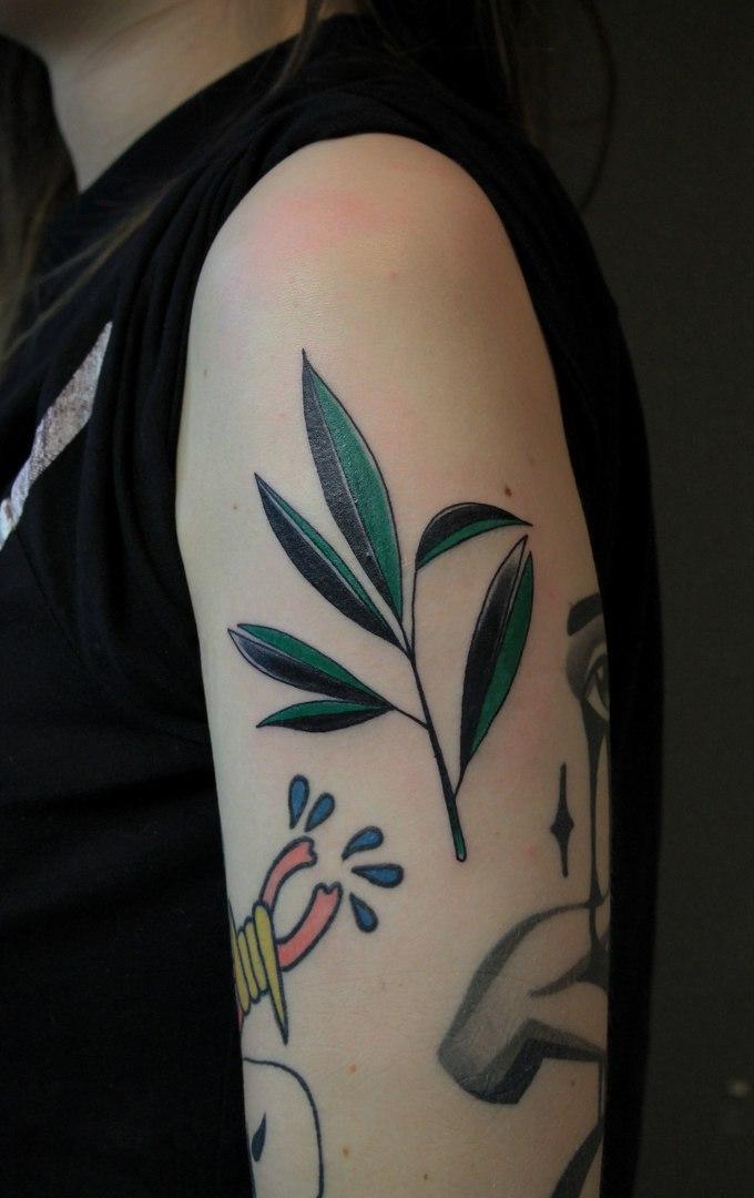 Татуировка «Веточка». Мастер Саша Новик.