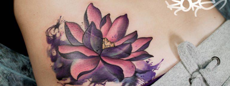 Художественная татуировка «Лотос». Мастер- Анна Корь