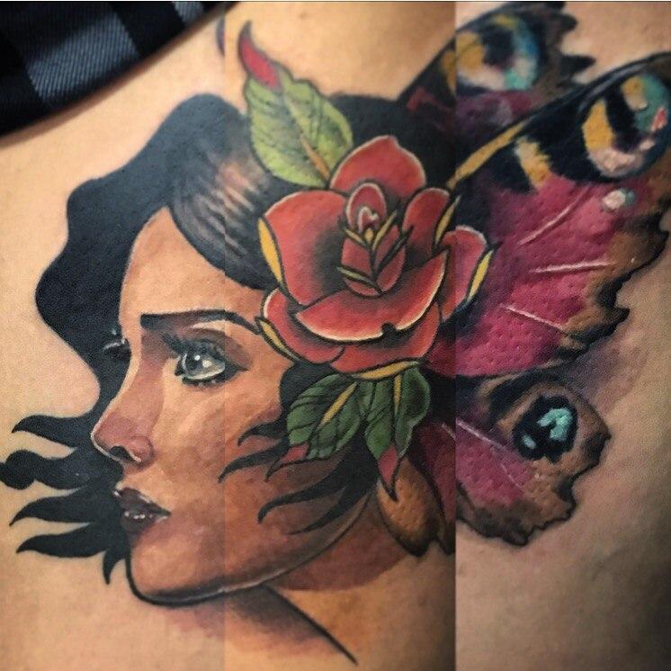 Художественная татуировка «Девушка». Мастер- Вася Эверест.